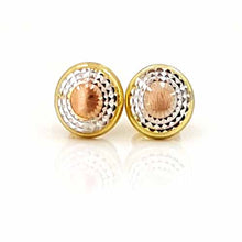 Load image into Gallery viewer, Women's 10k Yellow White and Rose Gold Button Stud Earrings