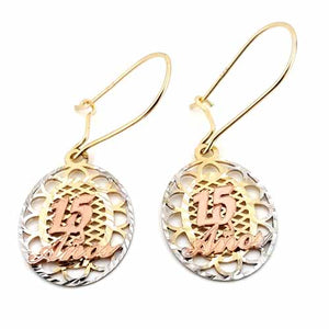 Women's 10k Yellow White and Rose Gold Quince 15 Años Earrings