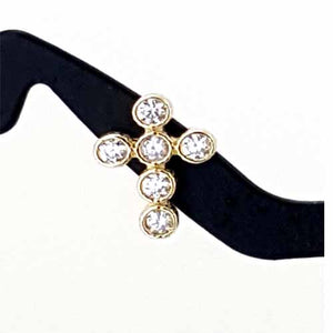 Women's 10k Yellow Gold CZ Cross Stud Earrings