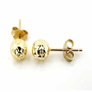 Women's 10k Yellow Gold Diamond Cut Ball Stud Earrings