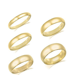 Solid Real 10K Yellow Gold Plain Men & Women Wedding Band 3mm to 6mm