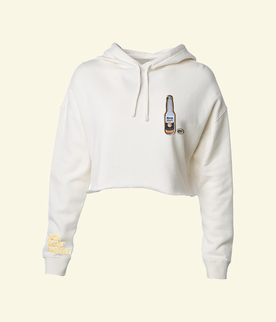 "Stay Home Cerveza Crop Hoodie in ""Alfredo"""