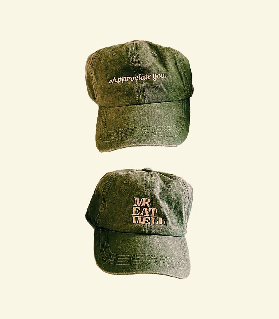 """AY"" + Logo Combo on Front/Back Dad Hat in ""Faded Absinthe"" - MR EATWELL"