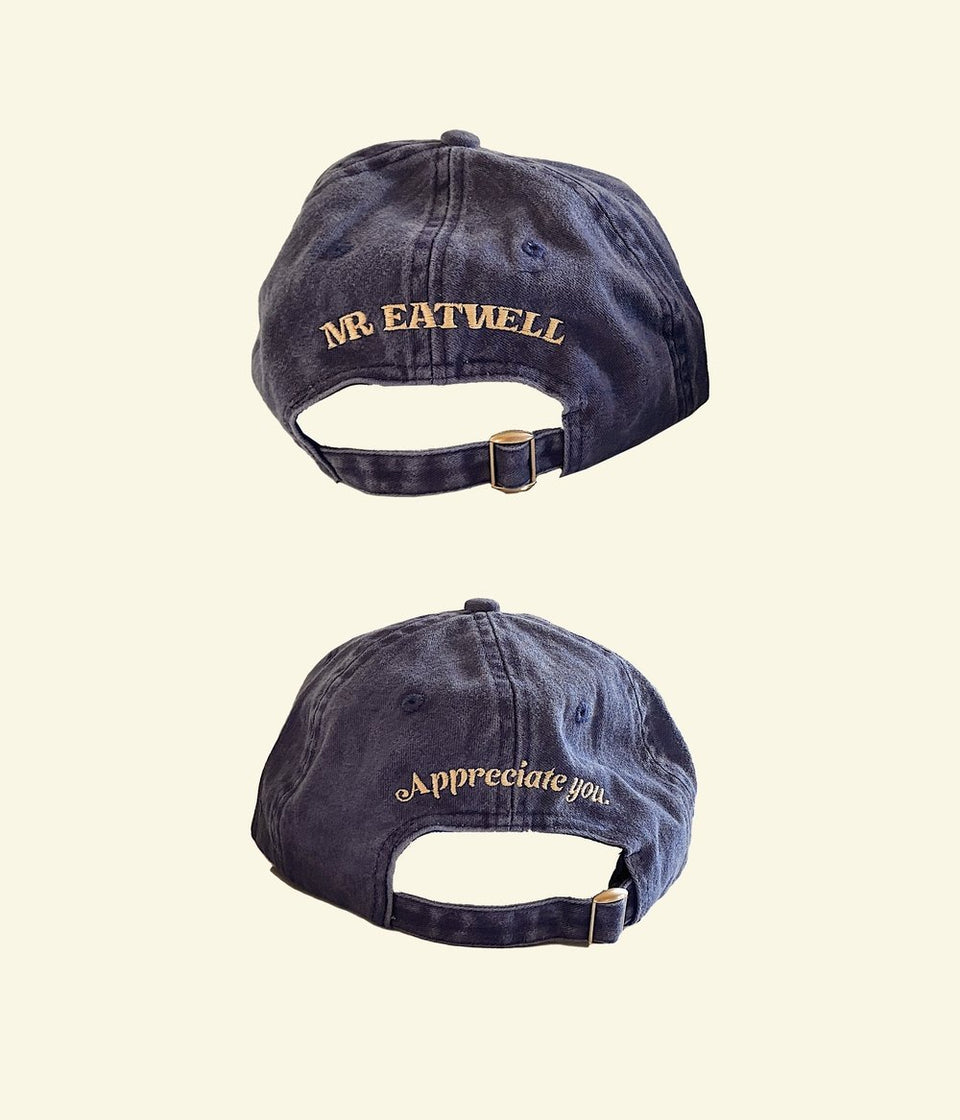 """AY"" + Logo on Front/Back Dad Hat in ""Faded Blueberry"" - MR EATWELL"