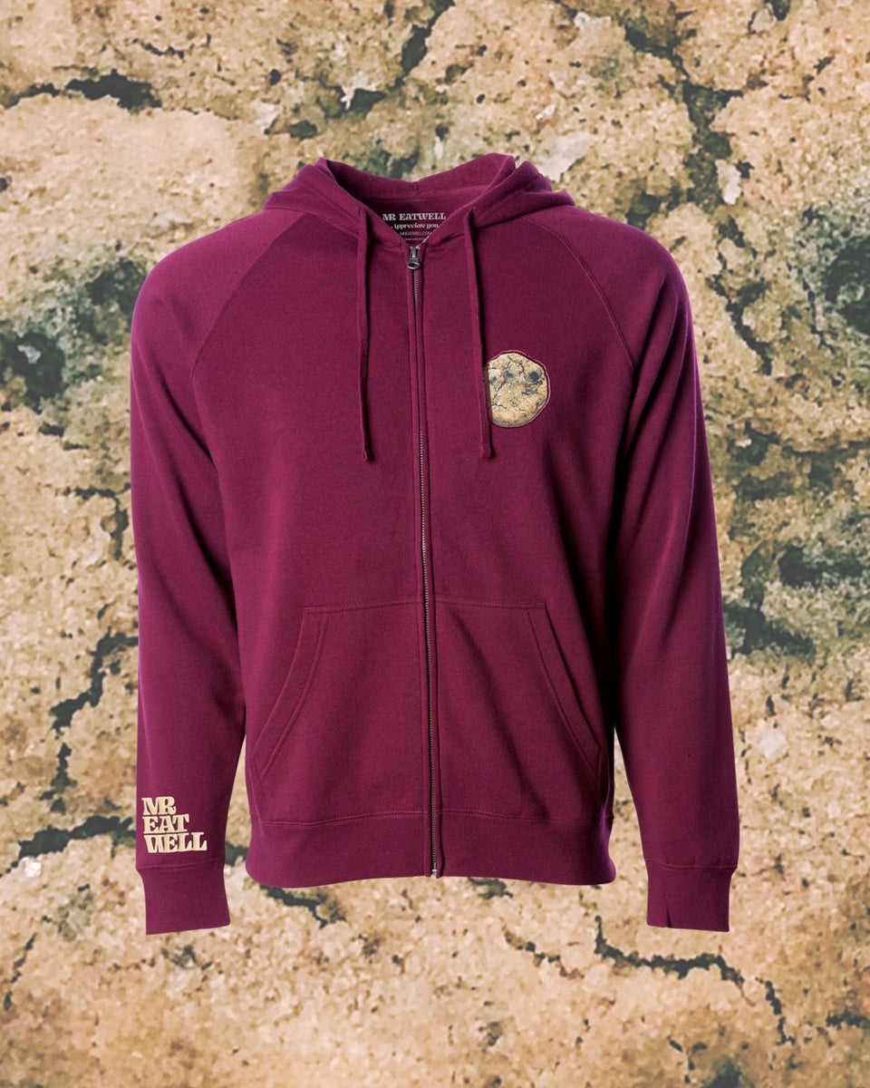 "Cookie Midweight Zip Hoodie in ""Red Red Wine"" - MR EATWELL"