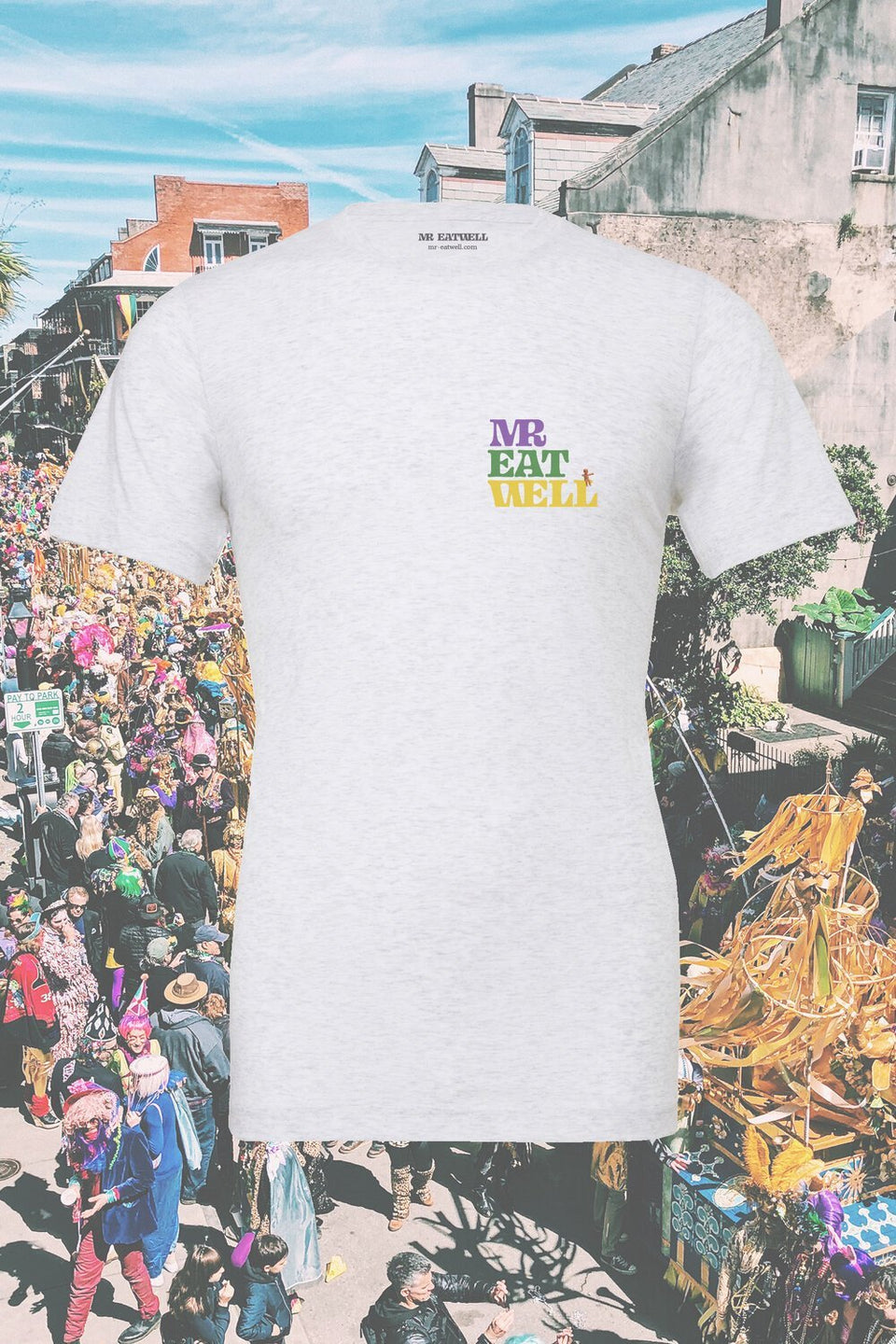 "Mardi Gras 2020 Parade Schedule Tour Tee in ""Ash"" - MR EATWELL"