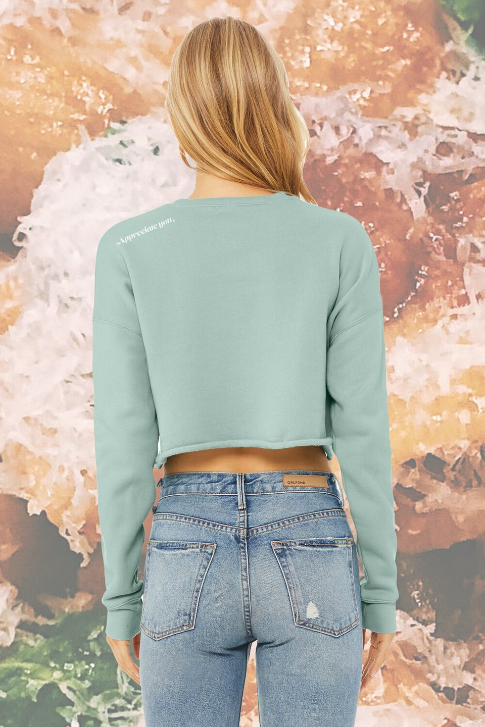 "Pasta Crop Top Sweatshirt in ""Sweet Mint Gum"" (BACK ORDER) - MR EATWELL"
