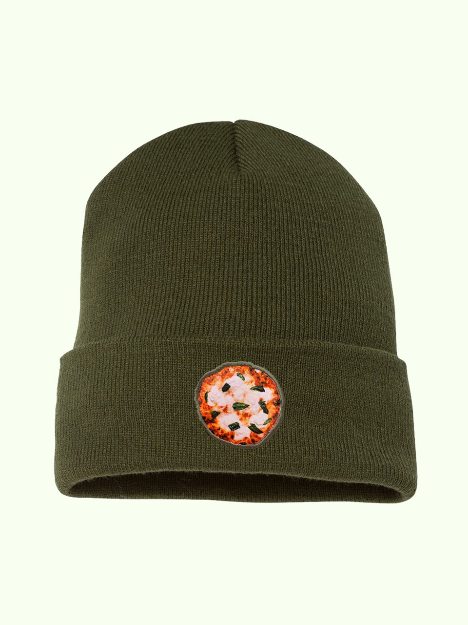 "Pizza Beanie in ""Olive"" (Ships in 1-2 Weeks) - MR EATWELL"