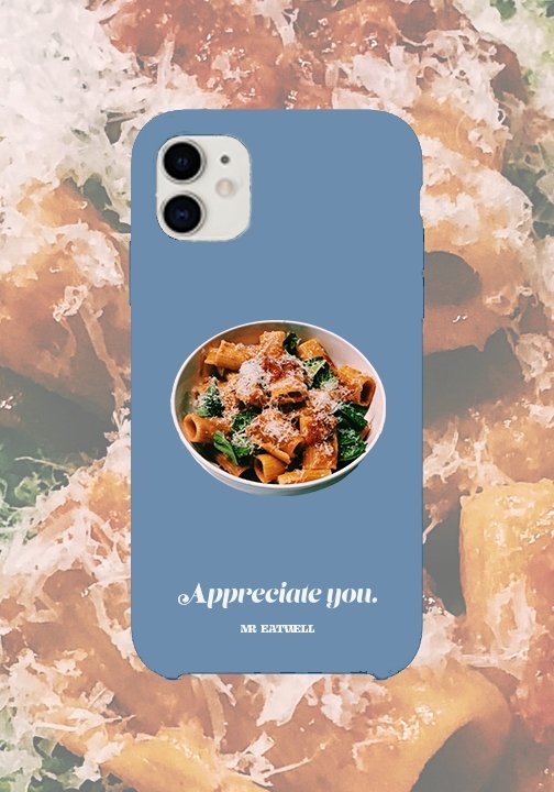 "Rigatoni iPhone Case in ""Matte Blue Sports Drink"" - MR EATWELL"