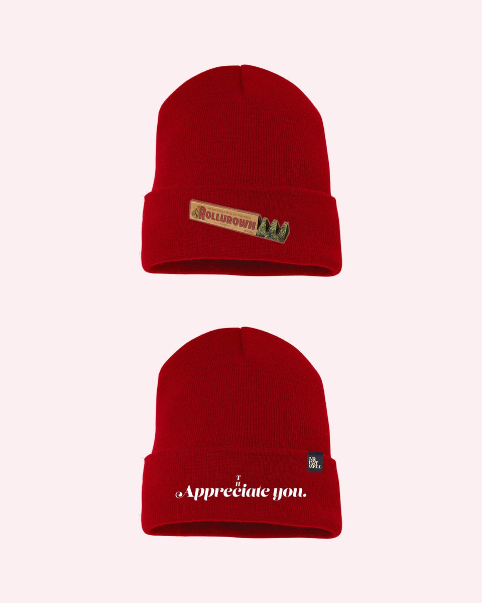 ROLLUROWN Candy Bar Beanie in Red or Navy - MR EATWELL