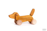 Natural Wood Dachshund Puppy Toy