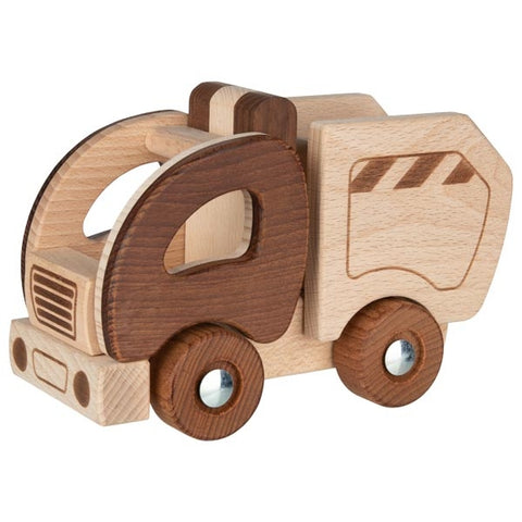 Natural Wooden Garbage Truck Toy