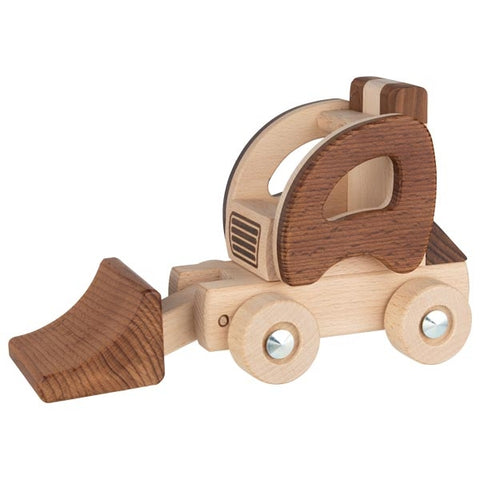 Natural Wood Wheel Loader Construction Toy