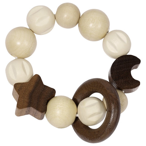 Moon & Star Wooden Baby Touch Ring Toy