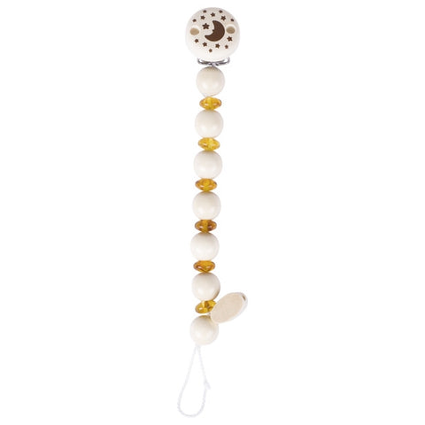 Wood and Amber Baby Soother Chain