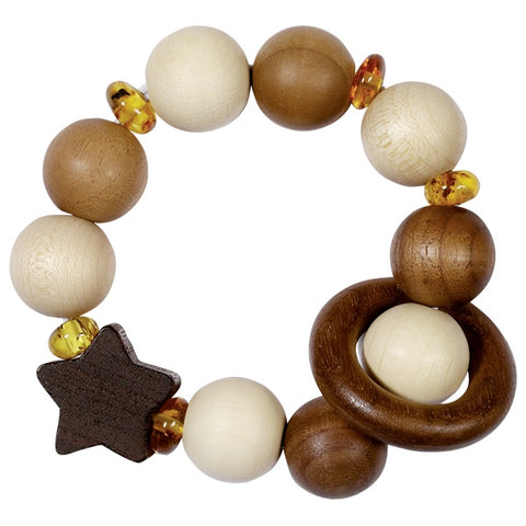 Wood and Amber Star Elastic Baby Touch Ring Toy