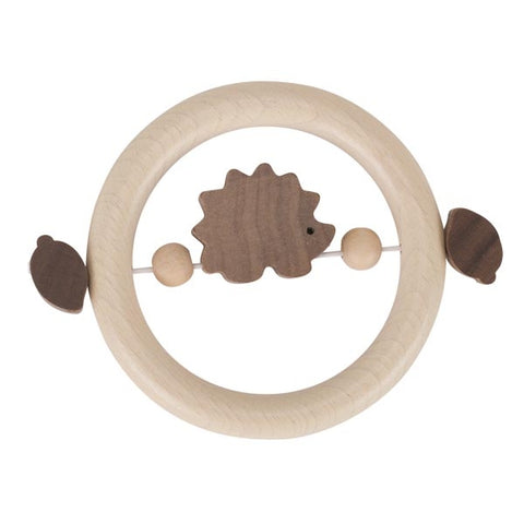Hedgehog Natural Wooden Baby Touch Ring Toy
