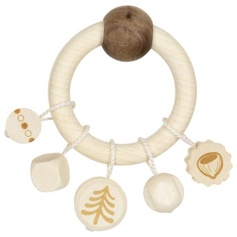 Natural Wood Squirrel Baby Touch Ring Toy
