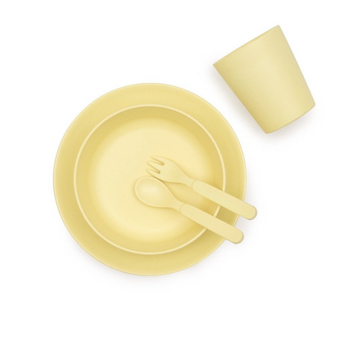 Bamboo Children's Dinner Set - Sunshine Yellow