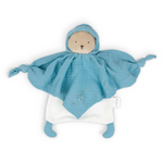 Organic Cotton Doudou Bear Baby Comforter - Blue
