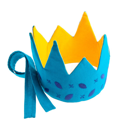 Reversible Fabric Crown - Blue/Yellow Leaves (Fair Trade)