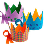 Reversible Fabric Crown - Orange/Plaid (Fair Trade)
