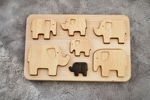 Wooden Elephant Sorting Puzzle
