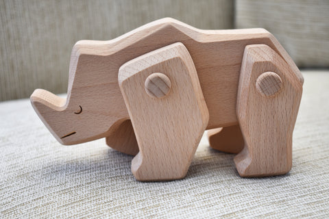 Natural Wood Rhinoceros Toy