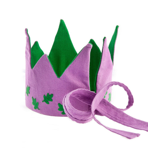Reversible Fabric Crown - Lilac/Green Leaves (Fair Trade)
