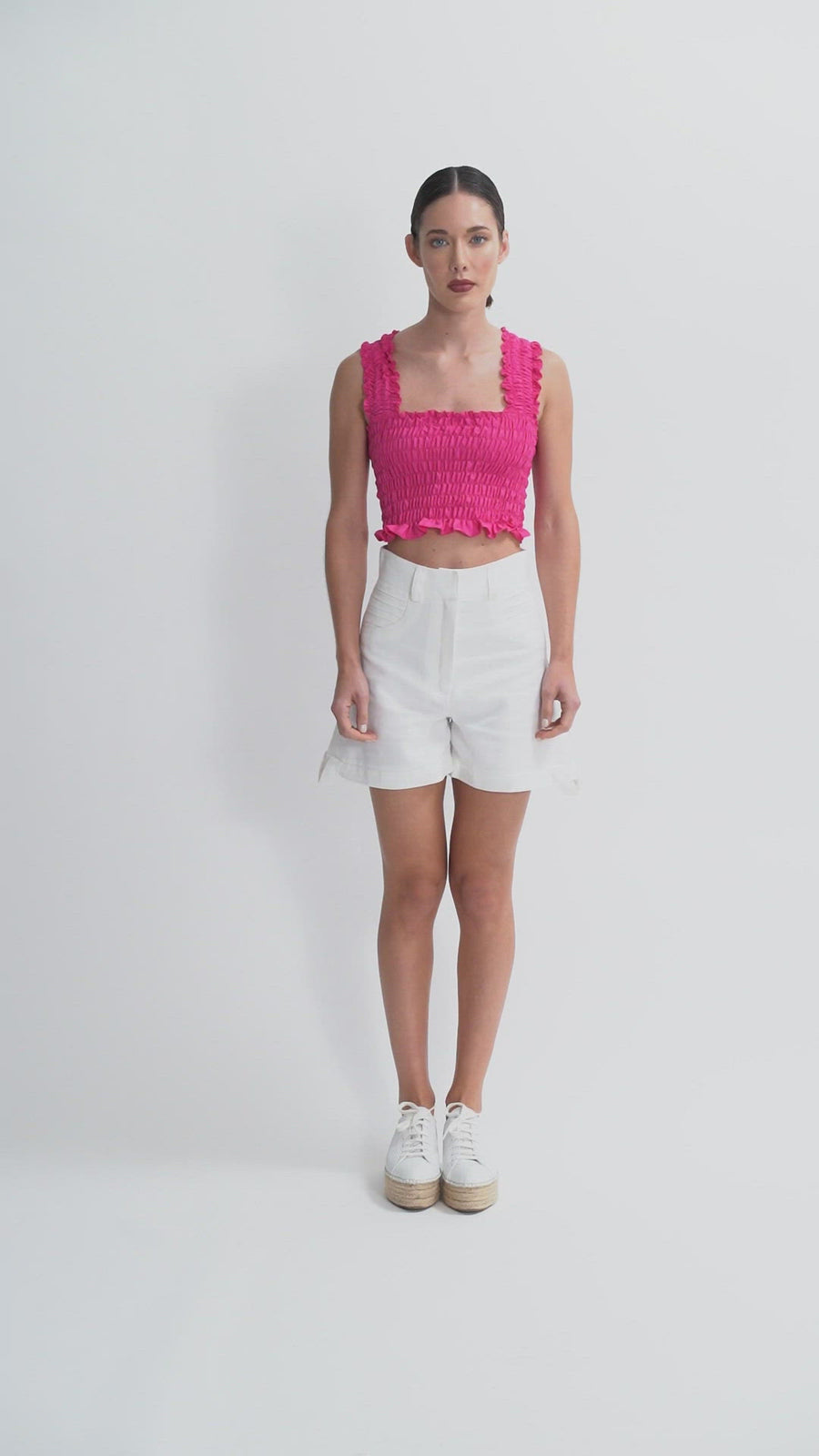 The Olivia Crop Top | Fucsia