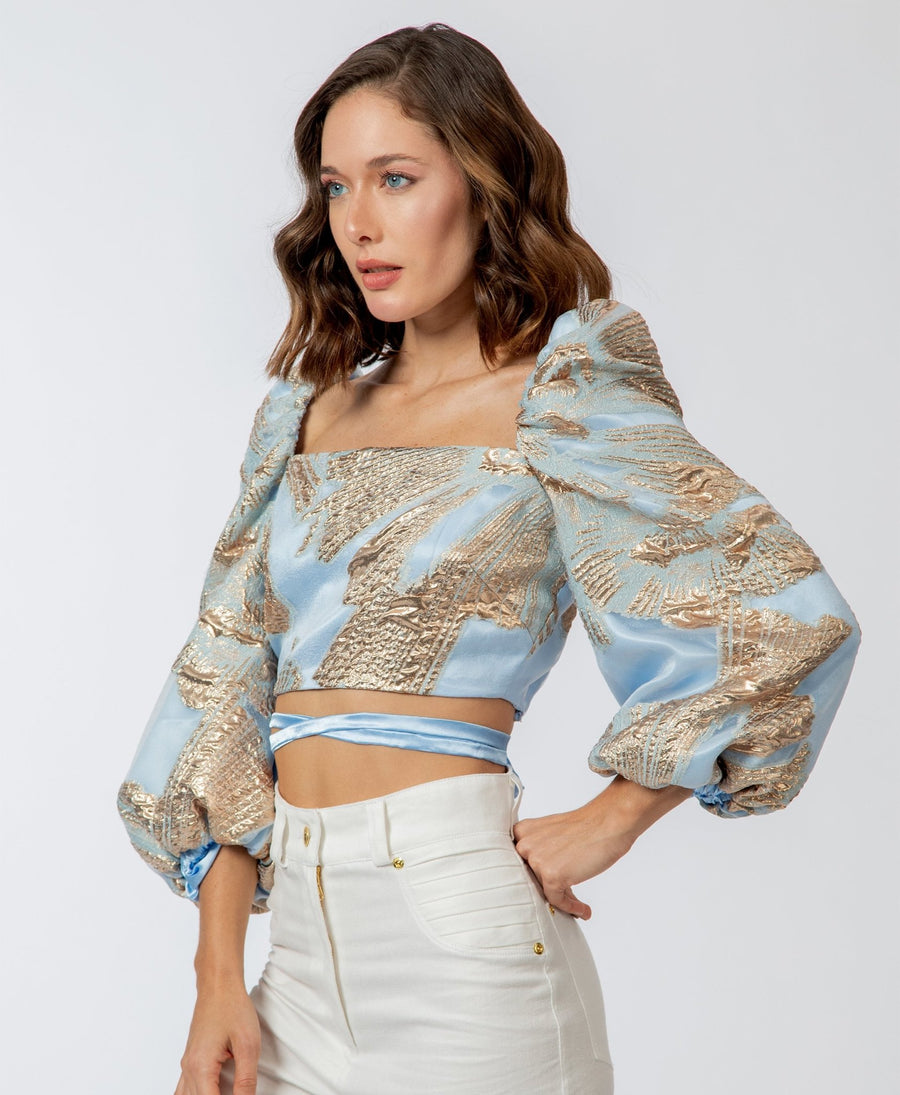 The Violetta Crop Top | Sky Blue - Darcé