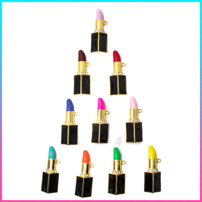 Beauty 10 Piece Silver & Gold Lipstick Charms