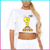 Coolin Orange Retro Tweety Cropped Shirt