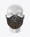Rex Fabrics Fashion Mask Black and Black Geometrical Pattern Neoprene Reversible (KIDS SIZE)