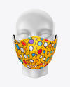 Rex Fabrics Fashion Mask Yellow Background Geometrical Pattern Cotton and Neoprene Reversible (KIDS SIZE)