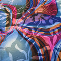 Blue with Fuchsia and Red Abstract Silk Chiffon and Charmeuse Fabric - Rex Fabrics