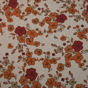 Burgundy and Orange Floral Pattern on a Light Ivory Background China Silk Fabric