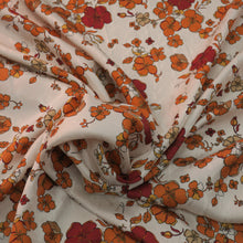 Load image into Gallery viewer, Burgundy and Orange Floral Pattern on a Light Ivory Background China Silk Fabric