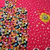 Fuchsia White and Black Floral China Silk Fabric