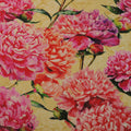 Orange and Fuchsia on a Yellow Background Floral China Silk Fabric - Rex Fabrics