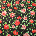 Red and Green Floral on a Black Background China Silk Fabric - Rex Fabrics