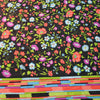 Red Purple and Light Blue Floral with a Black Background Silk Charmeuse Fabric