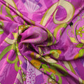 Gold with Green Accents and Fuchsia Background Floral Printed Silk Charmeuse Fabric - Rex Fabrics