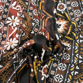 White Light Brown on a Dark Brown Background Floral Printed Silk Charmeuse Fabric - Rex Fabrics