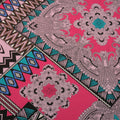 Teal and Fuchsia Background Symetric Printed China Silk Fabric - Rex Fabrics