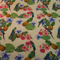Parrots and Pineapples with a Light Ivory Background Printed Silk Charmeuse Fabric - Rex Fabrics