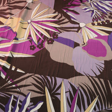 Load image into Gallery viewer, Purple Palms Printed Silk Charmeuse