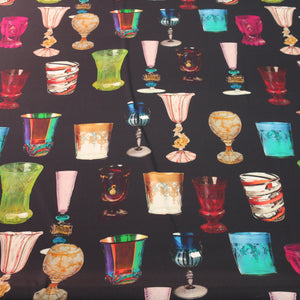 Venice Glass on Black Ground Printed Silk Charmeuse Fabric