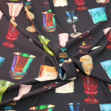 Load image into Gallery viewer, Venice Glass on Black Ground Printed Silk Charmeuse Fabric