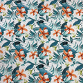 Palmeiras Cancun 35 Orange and Teal Abstract Printed Fabric - Rex Fabrics